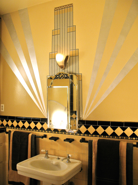 Art deco wall mural where art inspires beauty for Bathroom wall mural